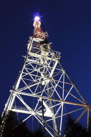 illuminated: illuminated broadcast tower in Lviv at night