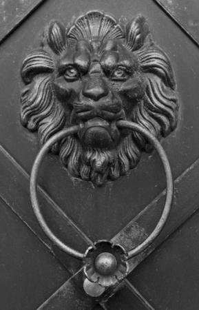 doorknocker: Lion doorknocker with ring on metal door Stock Photo