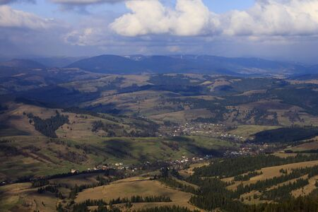 aerial view on villages in Carpathian mountains