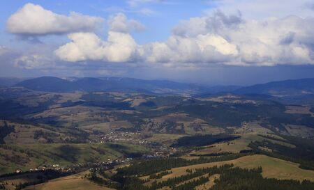 carpathian: aerial view on villages in Carpathian mountains