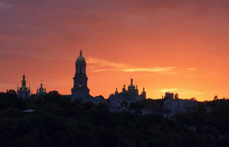 lavra: view on Kyiv Pechersk Lavra at sunset Stock Photo