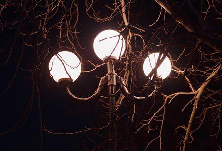 triple: triple lantern in park at night