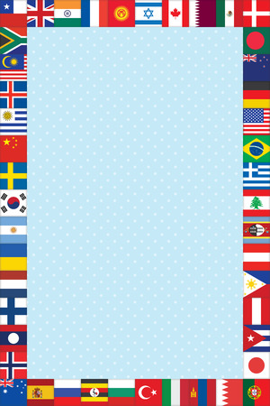blue polka dot background with world flags frame