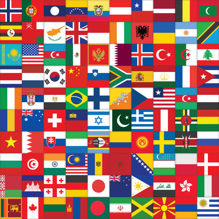 world flag: square background with some of world flag icons Stock Photo