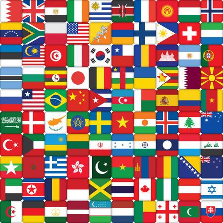 world flag: square background made of world flag icons Illustration