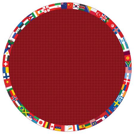 motif diamant rouge foncé avec des drapeaux ronds cadre