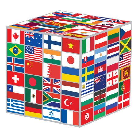 world flags: cube with world flags vector illustration Illustration