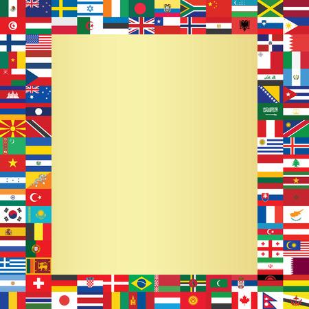 fond d'or avec des drapeaux du monde cadre illustration vectorielle