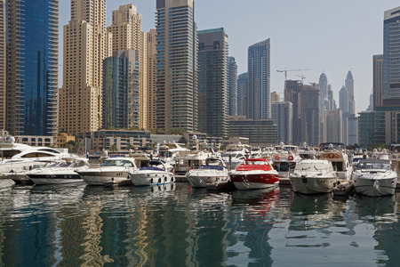 speedboats: speedboats in yacht club of Marina district in Dubai