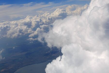 aerial view on clouds in sky