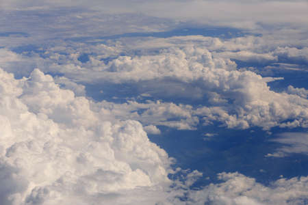 aerial view on clouds from aircraft