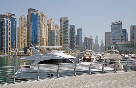 speedboats: speedboats in yacht club of Dubai Marina district Stock Photo