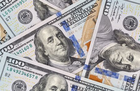 one hundred dollars: close up of new one hundred dollars banknotes Stock Photo