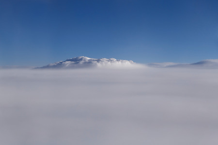 aerial view on cloudy sky