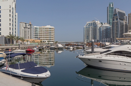 speedboats: DUBAI, UAE - MAY 11, 2016: speedboats in yacht club of Dubai Marina district