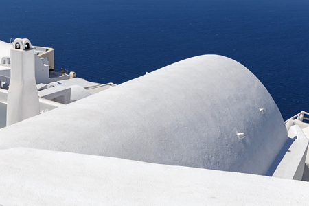 whitewashed: traditional whitewashed Cycladic house in Fira town on Santorini Stock Photo