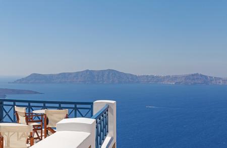 taverna: balcony with view on caldera of Santorini