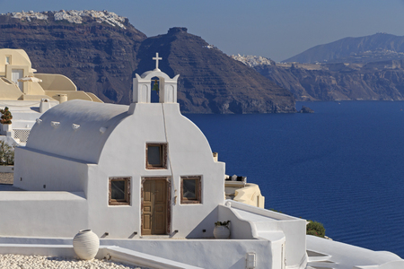 oia: white chapel in Oia town on Santorini