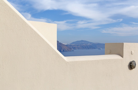 whitewashed: detail of whitewashed house in Oia on Santorini Stock Photo