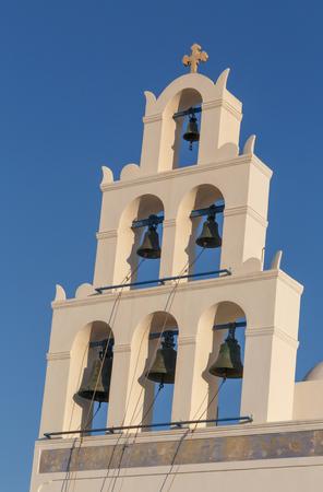 belfry of church in Oia on Santorini