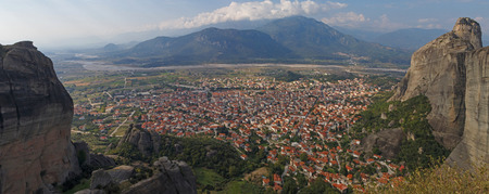 kalabaka: panoramic view on Kalabaka town at Meteora, Greece