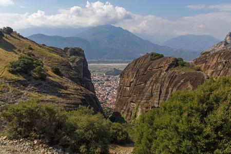 kalabaka: view on Kalabaka town at Meteora, Greece Stock Photo