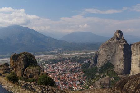 kalabaka: view on Kalabaka town from Meteora, Greece