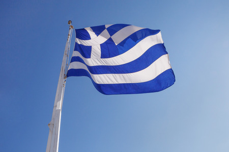 flagpoles: flag of Greece on Acropolis of Athens