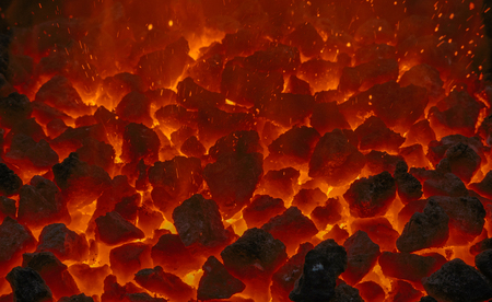 forge: close up of embers in forge