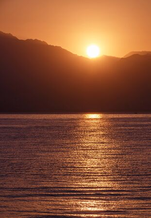 view on sunrise above Aqaba gulf from Eilat, Israel