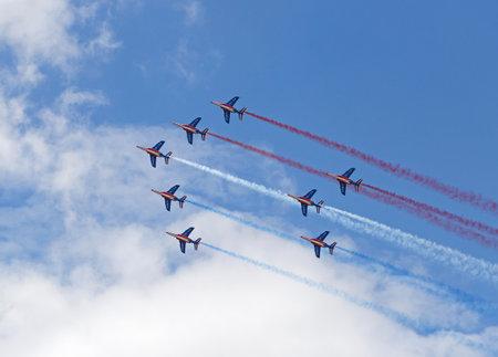 LE BOURGET, FRANCE - June 25, 2017: The Patrouille Acrobatique de France making French flag at The International Paris Air Show