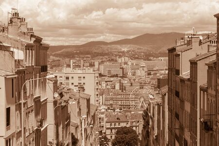 sight of Marseille in sepia, France