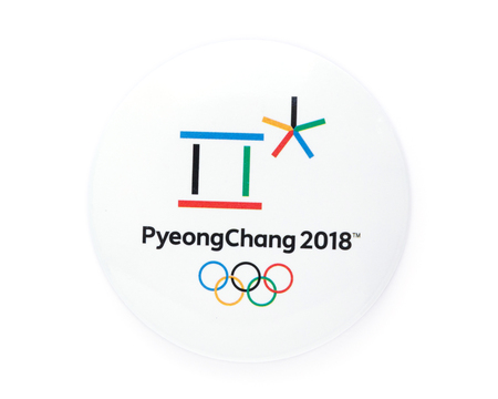 PYEONGCHANG, SOUTH KOREA - JANUARY 13,2018 - badge with symbol of the XXIII Olympic Winter Games in Pyeongchang Stockfoto - 108276716
