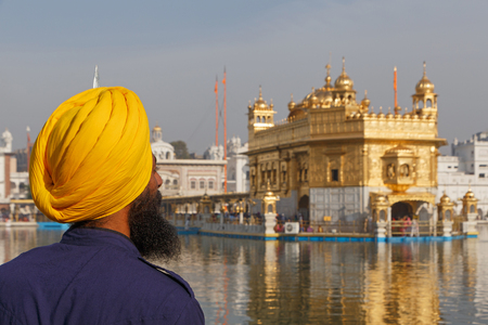 AMRITSAR, INDIA - MARCH 23, 2018: guardian at Golden Temple in Amritsar, India Editorial