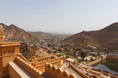 sight of Amer town from Amber Fort in Jaipur, India 免版税图像