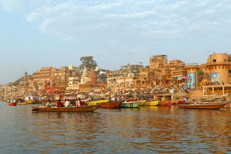 VARANASI, INDIA - MARCH 20, 2018: morning ceremony on Ganga river at Ghat in Varanasi, India Editorial