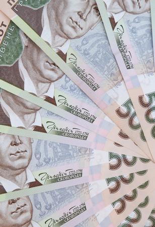 close up of fan shaped five hundred Ukrainian hryvnias banknotes 版權商用圖片 - 107984464