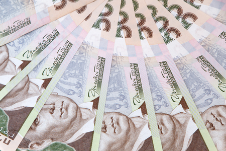 Ukrainian currency: five hundred hryvnias banknotes 版權商用圖片 - 107984466
