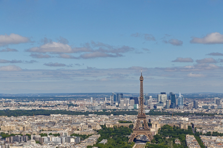 cityscape of Paris with Eiffel Tower and Field of Mars, France Stock Photo