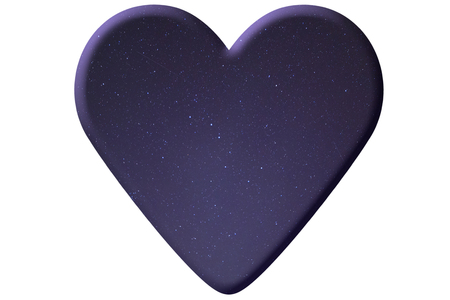heart made of night starry sky isolated on white