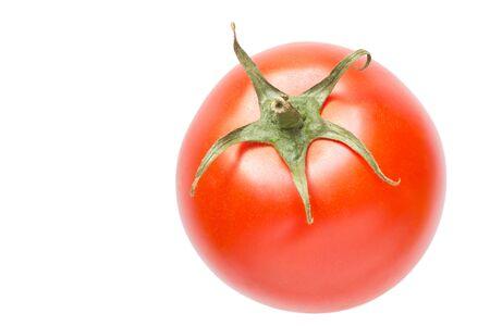 Cerca de tomate rojo aislado en blanco Foto de archivo