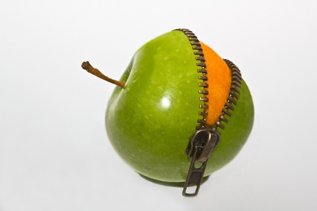 zipper: Orange inside apple