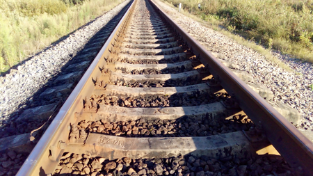 the existing: The photo shows the existing railway in Russia Stock Photo