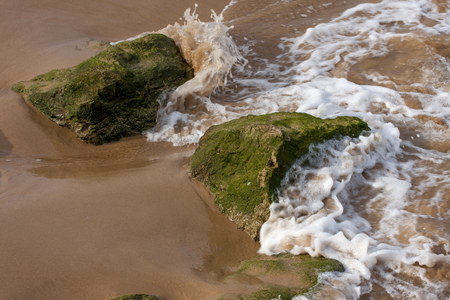 The green stones in the ocean wave