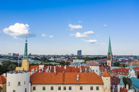 Beautiful panoramic  view of Riga and Riga castle, Latvia, Europe. Taken from a height on a drone. Aerial view of the old town. Stok Fotoğraf