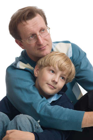 The happy father embraces the son Stock Photo - 13810136