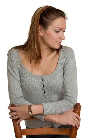 beiseite: Junge Frau schaut zur Seite Lizenzfreie Bilder
