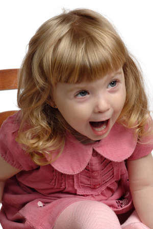 2 to 3 years: Bambina piange su sfondo bianco Archivio Fotografico