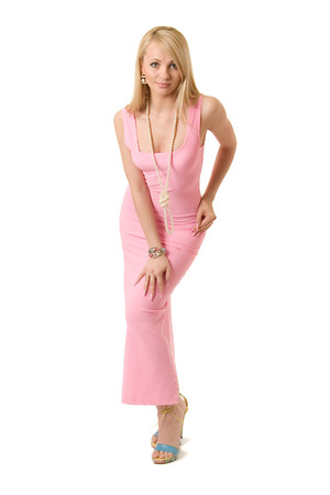 Beauty woman in pink evening dress.
