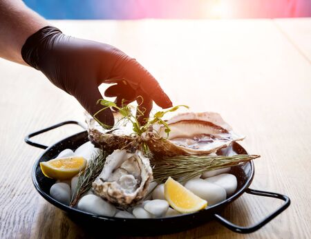 Chef opens a fresh oyster. Dish with open oysters. Restaurant.